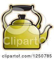 Clipart Of A Gold Tea Kettle Royalty Free Vector Illustration by Lal Perera