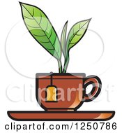 Clipart Of A Green Plant Growing From A Brown Tea Cup Royalty Free Vector Illustration by Lal Perera