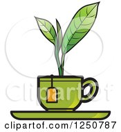 Clipart Of A Green Plant Growing From A Tea Cup Royalty Free Vector Illustration by Lal Perera