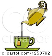 Clipart Of A Vintage Tea Pot Pouring Into A Green Cup Royalty Free Vector Illustration by Lal Perera