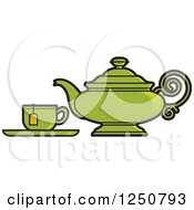 Clipart Of A Green Tea Pot And Cup Royalty Free Vector Illustration by Lal Perera