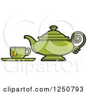 Poster, Art Print Of Green Tea Pot And Cup