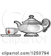 Clipart Of A Silver Tea Pot And Cup Royalty Free Vector Illustration by Lal Perera