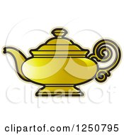 Clipart Of A Gold Tea Pot Royalty Free Vector Illustration by Lal Perera