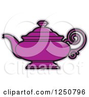 Clipart Of A Purple Tea Pot Royalty Free Vector Illustration