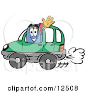Clipart Picture Of A Blue Postal Mailbox Cartoon Character Driving A Green Car And Waving by Toons4Biz