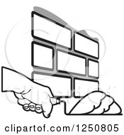 Clipart Of A Mason Hand Laying Bricks 4 Royalty Free Vector Illustration by Lal Perera