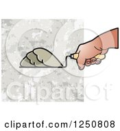 Clipart Of A Mason Hand And Grout Or Mortar 2 Royalty Free Vector Illustration