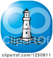 Clipart Of A Silver Lighthouse On Blue Royalty Free Vector Illustration by Lal Perera