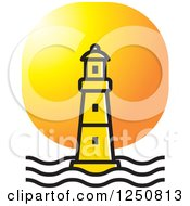 Clipart Of A Yellow Lighthouse At Sunset Royalty Free Vector Illustration by Lal Perera
