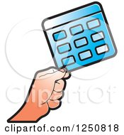 Clipart Of A Hand Holding A Blue Calculator Royalty Free Vector Illustration