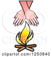 Clipart Of Hands Over A Campfire Royalty Free Vector Illustration