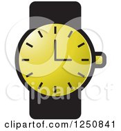 Clipart Of A Black And Gold Wrist Watch Royalty Free Vector Illustration