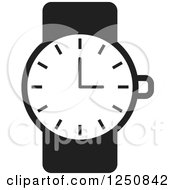 Clipart Of A Black And White Wrist Watch Royalty Free Vector Illustration