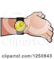 Clipart Of A Hand Showing A Black And Gold Wrist Watch Royalty Free Vector Illustration by Lal Perera