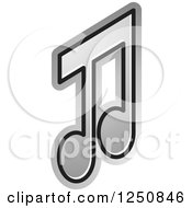 Clipart Of A Silver Music Note Royalty Free Vector Illustration