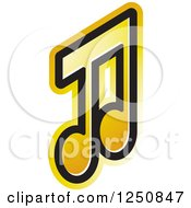 Clipart Of A Yellow Music Note Royalty Free Vector Illustration
