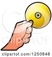 Clipart Of A Hand Holding A Gold Cd Royalty Free Vector Illustration