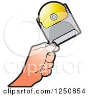 Clipart Of A Hand Holding A Cd Royalty Free Vector Illustration
