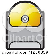 Clipart Of A Gold Cd In A Sleeve Royalty Free Vector Illustration