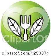 Clipart Of A Fork With Leaves On A Green Circle Royalty Free Vector Illustration by Lal Perera