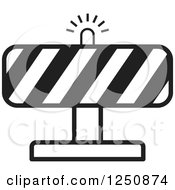 Clipart Of A Black And White Construction Road Block Royalty Free Vector Illustration by Lal Perera