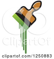 Clipart Of A Paintbrush Dripping With Green Royalty Free Vector Illustration