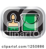 Clipart Of A Paintbrush And Green Bucket Icon Royalty Free Vector Illustration by Lal Perera