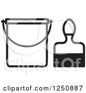 Clipart Of A Black And White Paintbrush And A Bucket Royalty Free Vector Illustration by Lal Perera