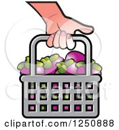 Clipart Of A Hand Carrying A Shopping Basket Full Of Mangosteen Fruit Royalty Free Vector Illustration