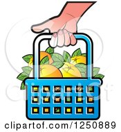 Clipart Of A Hand Carrying A Shopping Basket Full Of Orange Fruit Royalty Free Vector Illustration