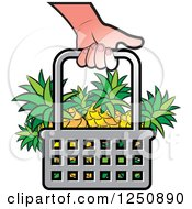 Clipart Of A Hand Carrying A Shopping Basket Full Of Pineapple Fruit Royalty Free Vector Illustration