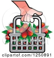 Clipart Of A Hand Carrying A Shopping Basket Full Of Fruit Royalty Free Vector Illustration