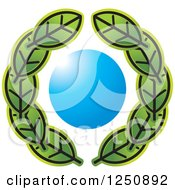 Clipart Of A Wreath Of Green Leaves Around A Blue Circle Royalty Free Vector Illustration