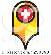 Clipart Of A Gold And Red Map Pointer Royalty Free Vector Illustration
