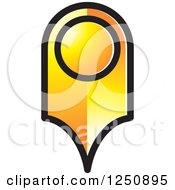 Clipart Of A Golden Map Pointer Royalty Free Vector Illustration