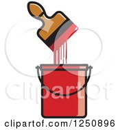 Clipart Of A Paintbrush Dripping In A Red Bucket Royalty Free Vector Illustration