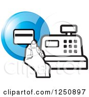 Clipart Of A Black And White Hand Holding A Credit Card Over A Cash Register And Blue Circle Royalty Free Vector Illustration by Lal Perera