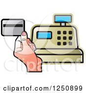 Clipart Of A Hand Holding A Debit Card Over A Gold Cash Register Royalty Free Vector Illustration