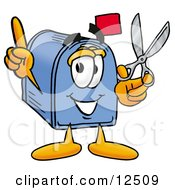 Clipart Picture Of A Blue Postal Mailbox Cartoon Character Holding A Pair Of Scissors by Toons4Biz