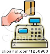 Clipart Of A Hand Holding A Debit Card Over A Gold Cash Register 2 Royalty Free Vector Illustration