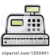 Clipart Of A Silver Cash Register Royalty Free Vector Illustration