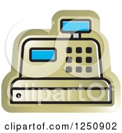 Clipart Of A Gold Cash Register Royalty Free Vector Illustration