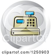 Clipart Of A Gold Cash Register On A Silver Circle Royalty Free Vector Illustration