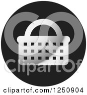 Clipart Of A Grayscale Shopping Basket Icon Royalty Free Vector Illustration by Lal Perera