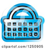Clipart Of A Blue Shopping Basket Icon Royalty Free Vector Illustration by Lal Perera