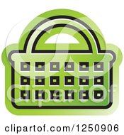 Clipart Of A Green Shopping Basket Icon Royalty Free Vector Illustration