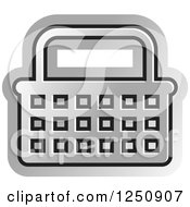 Clipart Of A Silver Shopping Basket Icon Royalty Free Vector Illustration
