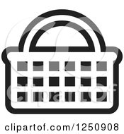 Clipart Of A Black And White Shopping Basket Icon Royalty Free Vector Illustration by Lal Perera