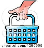 Clipart Of A Hand Carrying A Blue Shopping Basket Icon Royalty Free Vector Illustration